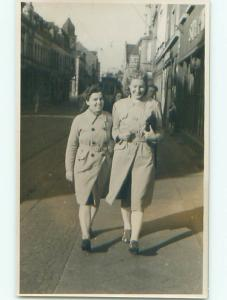 Old rppc GERMAN GIRLS WALK BY STREET SHOPS Hamborn - Duisburg GERMANY o1582-22