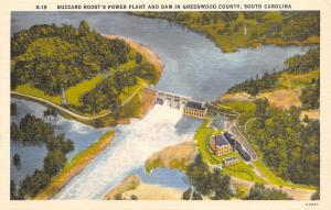 Greenwood County South Carolina~Buzzard Roosts Power Plant And Dam~1940 PC