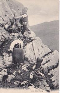 Switzerland Young Children Climbing Mountain Aufstieg