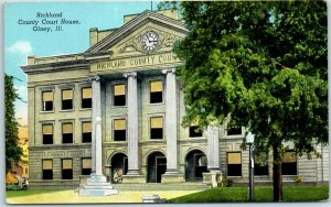 Olney, Illinois Postcard RICHLAND COUNTY COURT HOUSE Building View Linen c1950s