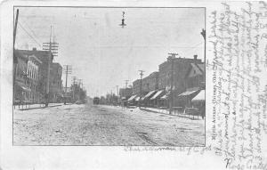 F23/ Chicago Ohio Postcard 1907 Myrtle Avenue Stores Trolley Willard
