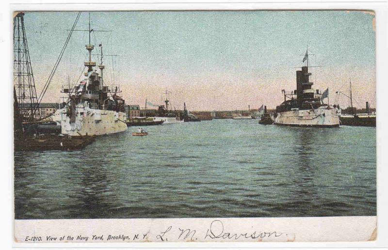 US Navy Battleships Brooklyn Navy Yard New York 1908 postcard