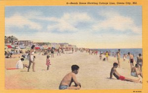 P1799 vintage unused beach scene showing cottage line ocean city maryland