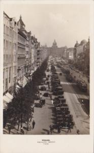 Czechoslovakia Praha Vaclavske Namesti Street Scene Real Photo