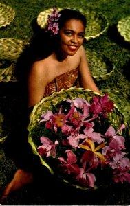 Hawaii Honolulu Beautiful Native Girl With Island Orchids