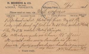 WINONA, Minnesota, PU-1901; Order for H. Behrens & Co.
