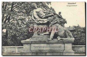 Postcard Old Lion Dusseldorf Kriegerdenkmal