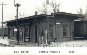 B and O Depot, Shoals, IN, Indiana, USA Kodak Real Photo Paper Train Railroad...