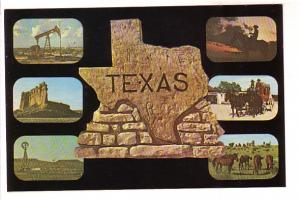 Sixviews with Stone Map, Oil Wells, Cowboys, Texas, Baxter Lane