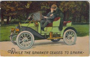 Romantic Couple - Kissing - Vintage Car
