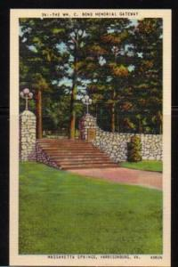 Virginia postcard Bond Mem Gate Massanetta Springs