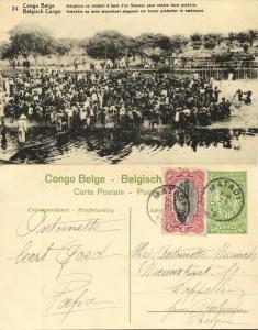 belgian congo, Native Sellers Boarding a Steamer (1920s) Postcard (24)