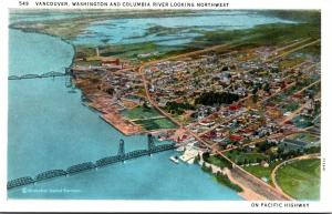 Washington Vancouver Aerial View With Columbia River Looking Northwest Curteich