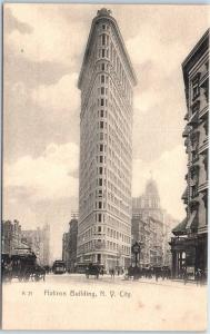 c1900s New York City Postcard Flatiron Building, Street View Rotograph Undivided