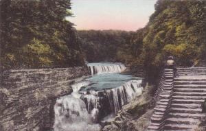 Lower Falls Genesee River Letchworth State Park New York Handcolored Albertype