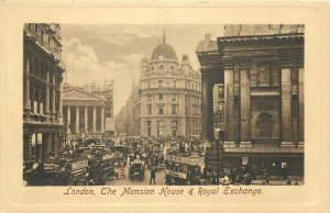 England London Raphael Tuck Sepia Post card The Mansion House and Royal Exchange