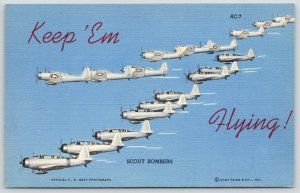 Military~Army Air Corps Plane~Keep 'em Flying~Scout Bomber Formation~1942 Linen