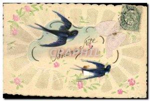 Old Postcard Swallow Fancy Embroidery Flowers