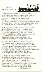 Vtg Tarjeta Postal Paul Hennessey Poema  IN My Black Hills Black South Dakota