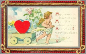 VALENTINE'S DAY My Heart Is Drawn To You Cupid ca 1910s Vintage Postcard