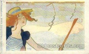 Rare Auf Sommerfrische. XVIII/4, Artist Raphael Kirchner 1900 very light pain...