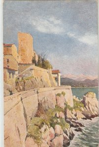 Landscape with castle, sea, mountains Nice old vintage postcard