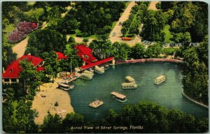 Silver Springs, Florida Postcard Aerial View Glass-Bottom Boats Linen 1949