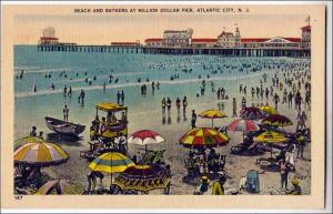 Beach & Bathers at Million $ Pier, Atlantic City NJ