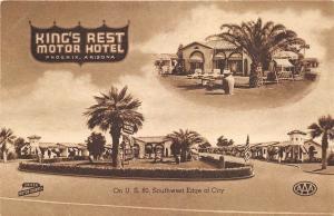 Phoenix Arizona 1940s Postcard king's Rest Hotel Motor Court Motel