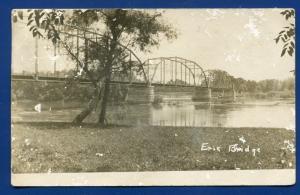 Erie Bridge Pennsylvania pa real photo postcard RPPC franked with Q1 postmark