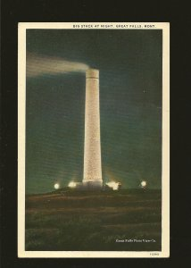 USA Postmark 1939 Great Falls Mont Big Stack at Night Great Falls Postcard