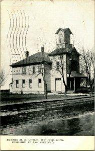 Vtg Postcard 1911 Swedish Methodist Episcopal Church - Winthrop MN