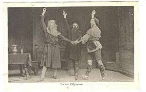 RP; Three Men in Costume, Scene from a theatrical play, Die drei Eidgenossen,...