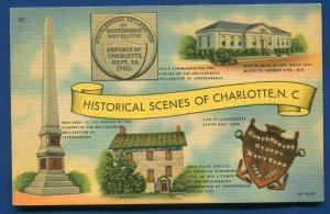 Historical Scenes of Charlotte North Carolina nc linen postcard