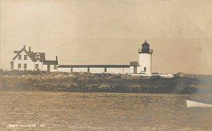 Cape Porpoise ME Goat Island Lighthouse Boat Real Photo Postcard