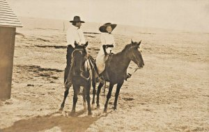 MAN & WOMAN RIDING HORSEBACK-HORSES~1910s REAL PHOTO POSTCARD