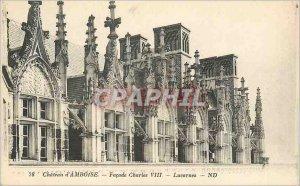 Old Postcard Chateau d'Amboise Facade Charles VIII skylights