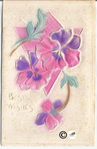Old Novelty Postcard Heavily Embossed Pink and Purple Pansies Airbrushed