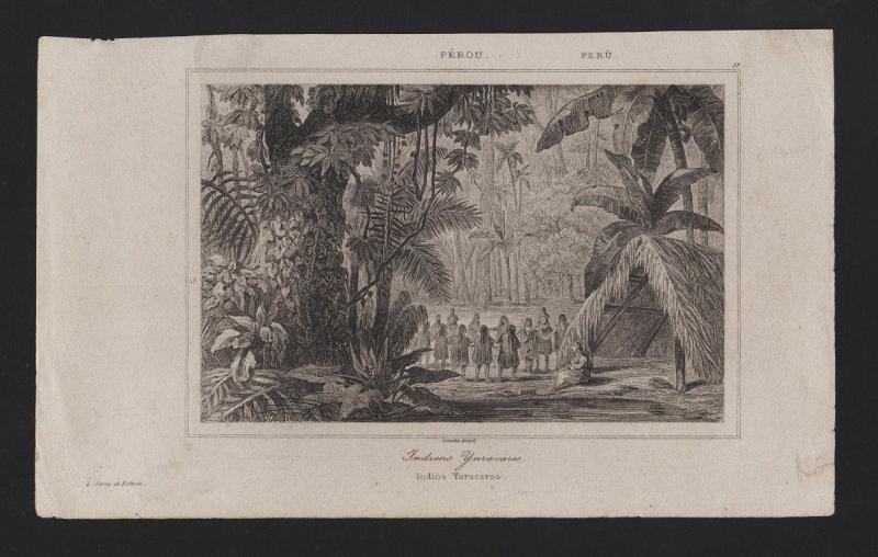 PERU INDIOS YURUCAROS RARE ANTIQUE PRINT XIX century