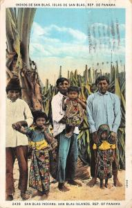 San Blas Islands Panama Indian Family Natives Antique Postcard K15313