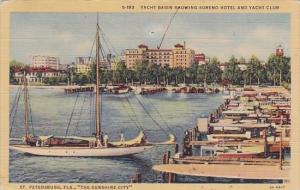 Yacht Basin Showing Soreno Hotel And Yacht Club Saint Petersburg Florida 1946