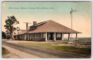 1910's MADISON COUNTRY CLUB HOUSE MADISON CONNECTICUT*CT*AMERICAN FLAG*POSTCARD