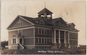 Oregon OR Real Photo RPPC Postcard Rare 1910 BANDON High School Building