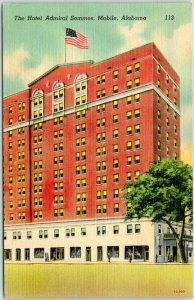 1940s Mobile, Alabama Postcard HOTEL ADMIRAL SEMMES Street View Linen Unused