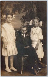 1910s RPPC Photo Postcard 3 Apparently Spoiled Children, Studio Portrait Unused