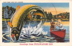 Angola IN Exaggerated Fish, The 1st One We Landed~Pokagon St Park~Potawatomi Inn