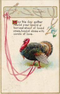 Thanksgiving Well Wishes, Wishbones, Pink Ribbon, Wild Turkey, PU-1912