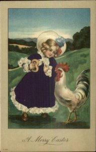 Easter - Little Girl Feeding Rooster - REAL SILK DRESS c1910 Postcard