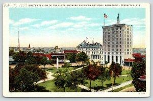 Pensacola Florida~Birdseye View of Plaza~American National Bank Building~1940s