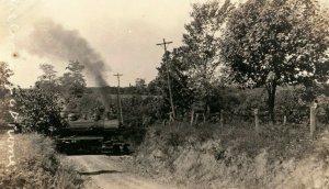 C.1910 RPPC C.E.I Train Crossing Road Boyertown, PA. Postcard P165